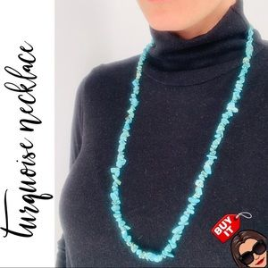 Jewelry - Classic Turquoise Gemstone Chip Long Necklace